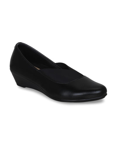 GET GLAMR Hand Made Designer Black Wedges Pumps
