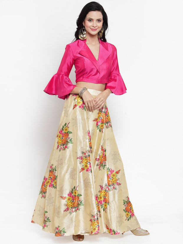 Get Glamr Women's Floral Fully Stiched Lehenga Choli