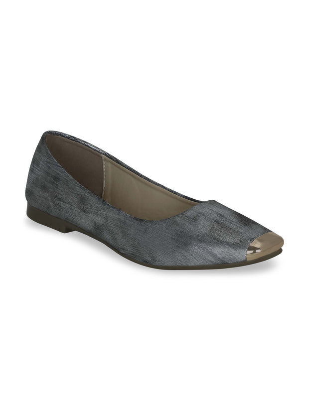 Women Grey Ethnic Ballerinas