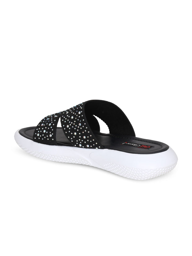 Women Black Emblished Slip Ons