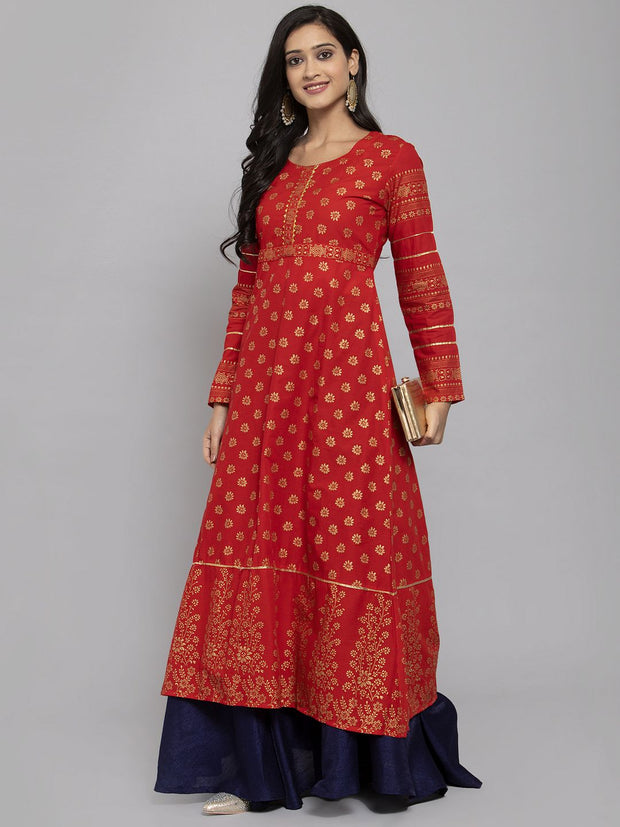 Women Red & Golden Block Printed Anarkali Kurta With Mask
