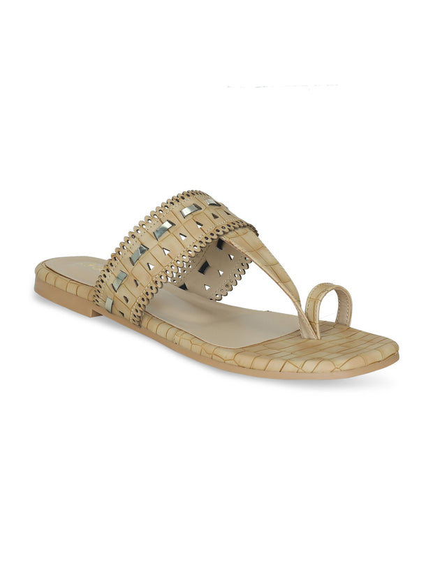 Women Beige Designer Perforated kolhapuirs