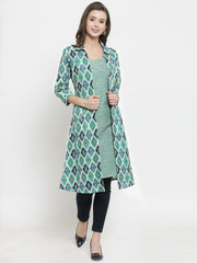 Get Glamr Women Cotton A-Line Kurta and Shrug