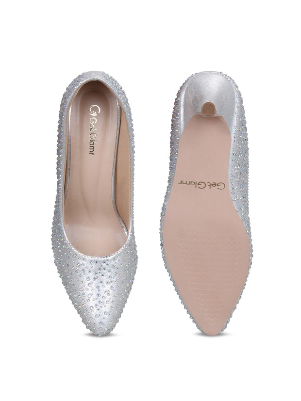 GET GLAMR Hand Made Embedded Ethnic Silver Designer Pumps