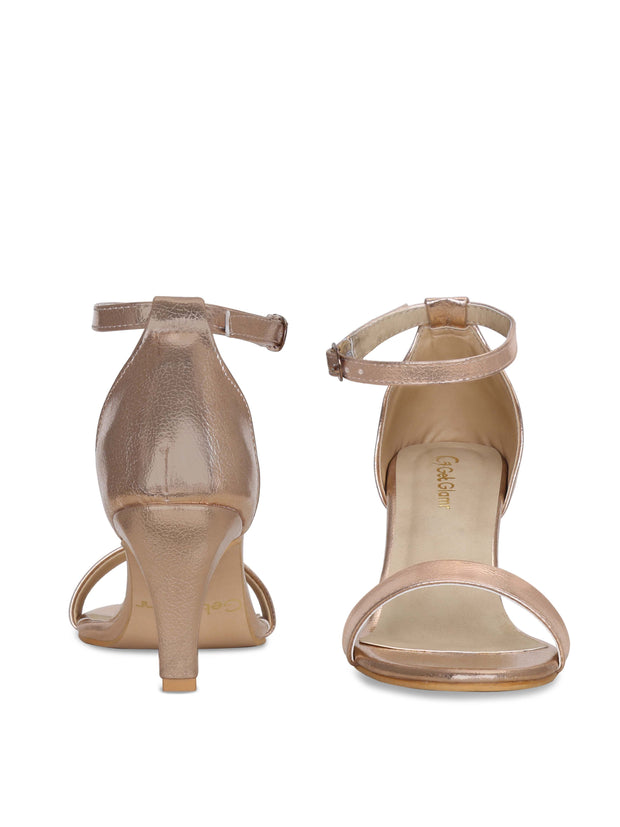 Women Designer Rose Gold Stilettoes Sandals