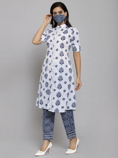 Women White & Navy Blue Printed Kurti with Trouser and Mask