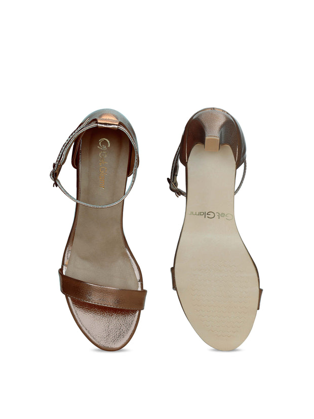 Women Designer Copper Stilettoes Sandals