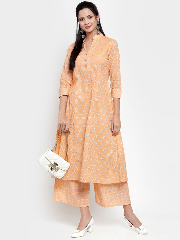Get Glamr Women's Cotton Kurta and Palazzo Set