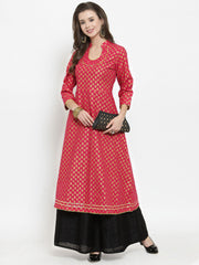 Get Glamr Women's Cotton A-Line Flared Kurta
