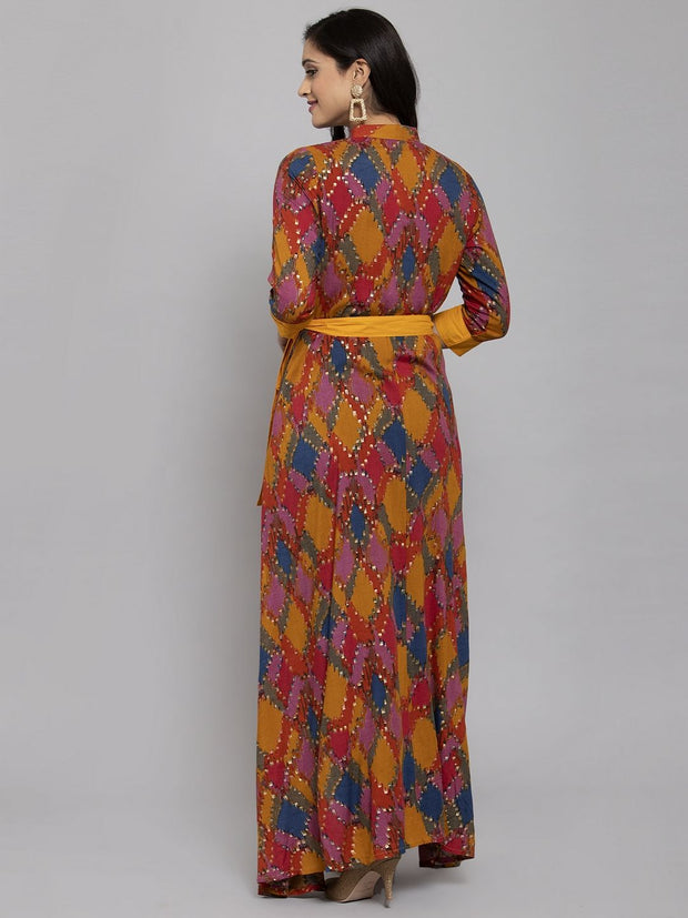 Women Mustard Yellow & Red Foil Printed Asymmetric Anarkali Kurta With Mask