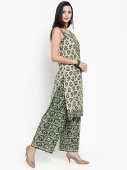 Women Green & Beige Printed Kurta and Pallazzos
