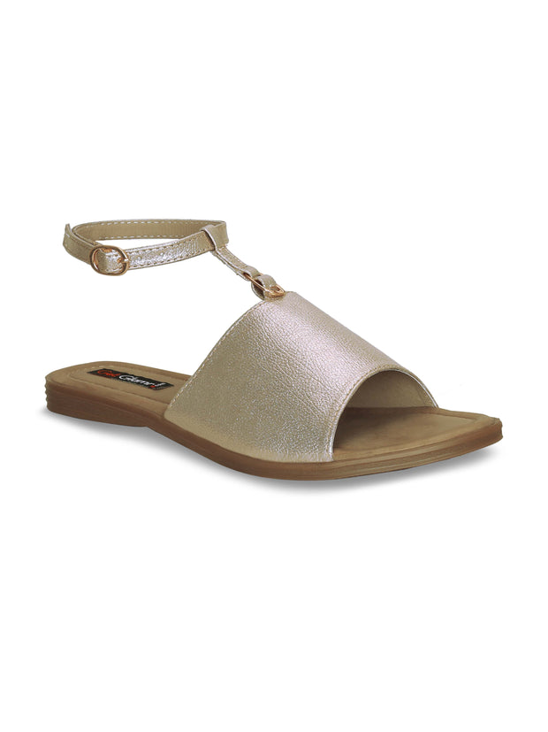 Women Casual Gold Comfortable Flat Sandals