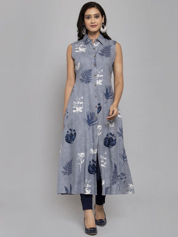 Women Grey & Navy Blue Printed A-Line Layered Kurta With Mask