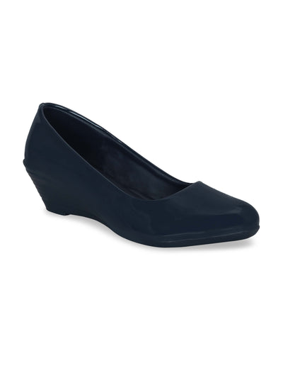 Women Navy Blue Solid Wedge Pumps