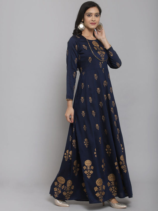 Women Navy Blue & Gold Foil Printed Anarkali Kurta With Mask