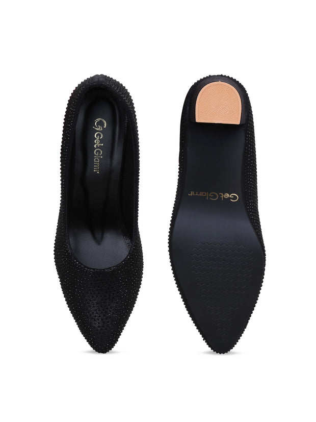 GET GLAMR Hand Made Emblished Ethnic Black Designer Pumps