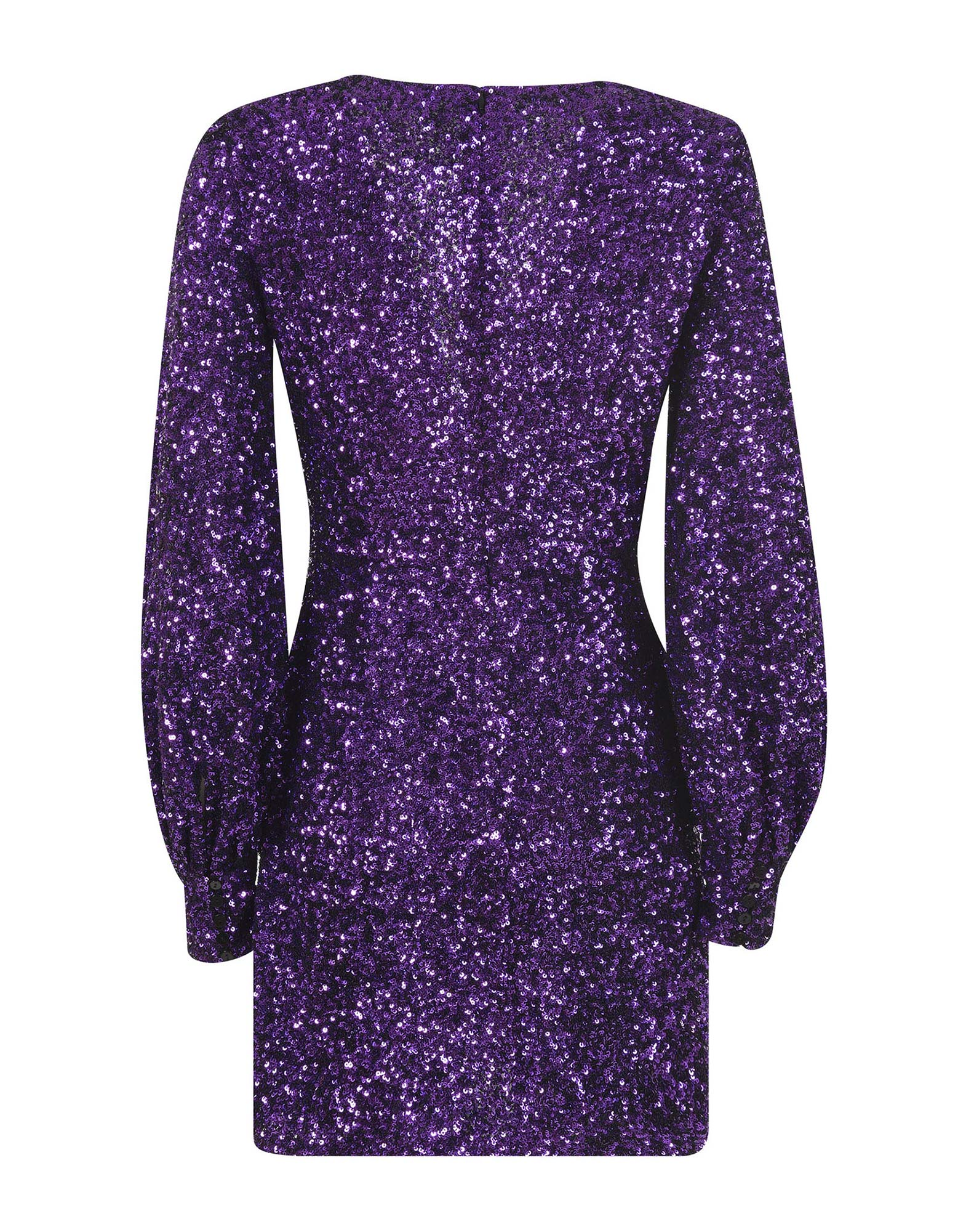 Purple v-neck sequined mini dress