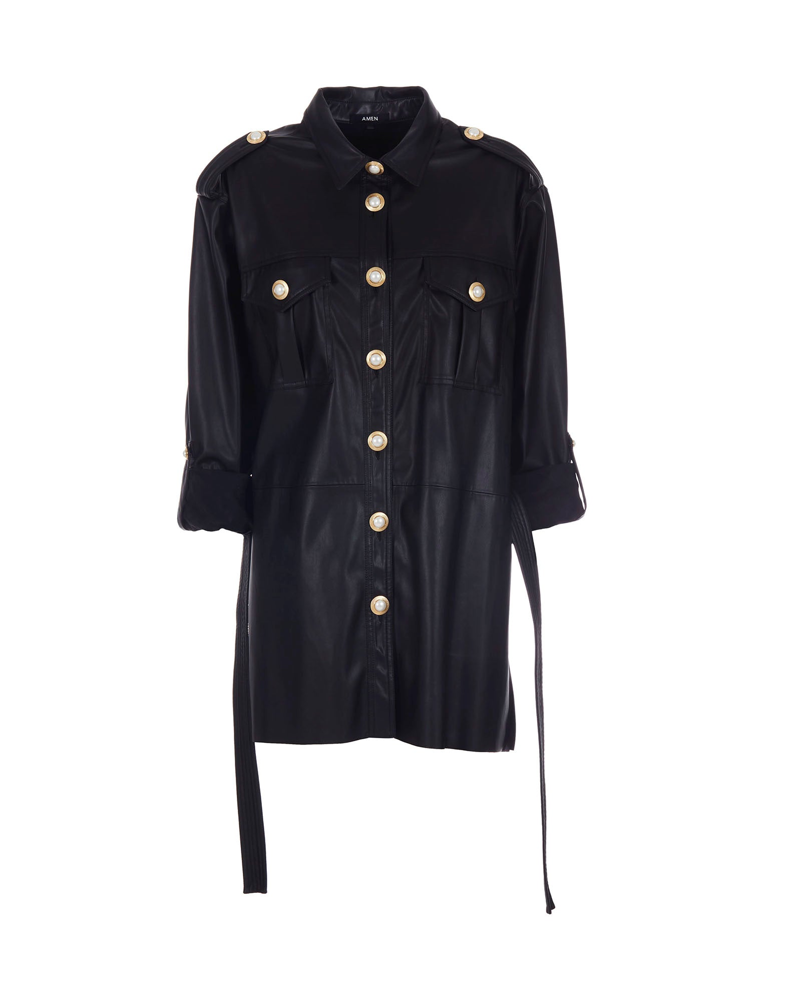 Faux-leather oversize shirt