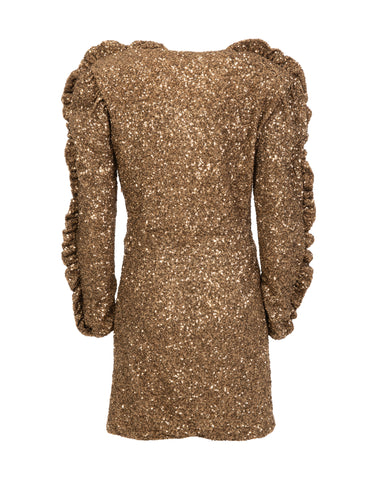 Gold sequin-embellished wrap dress
