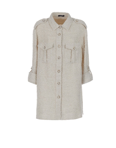 White oversized shirt in tweed - NEW COLLECTION