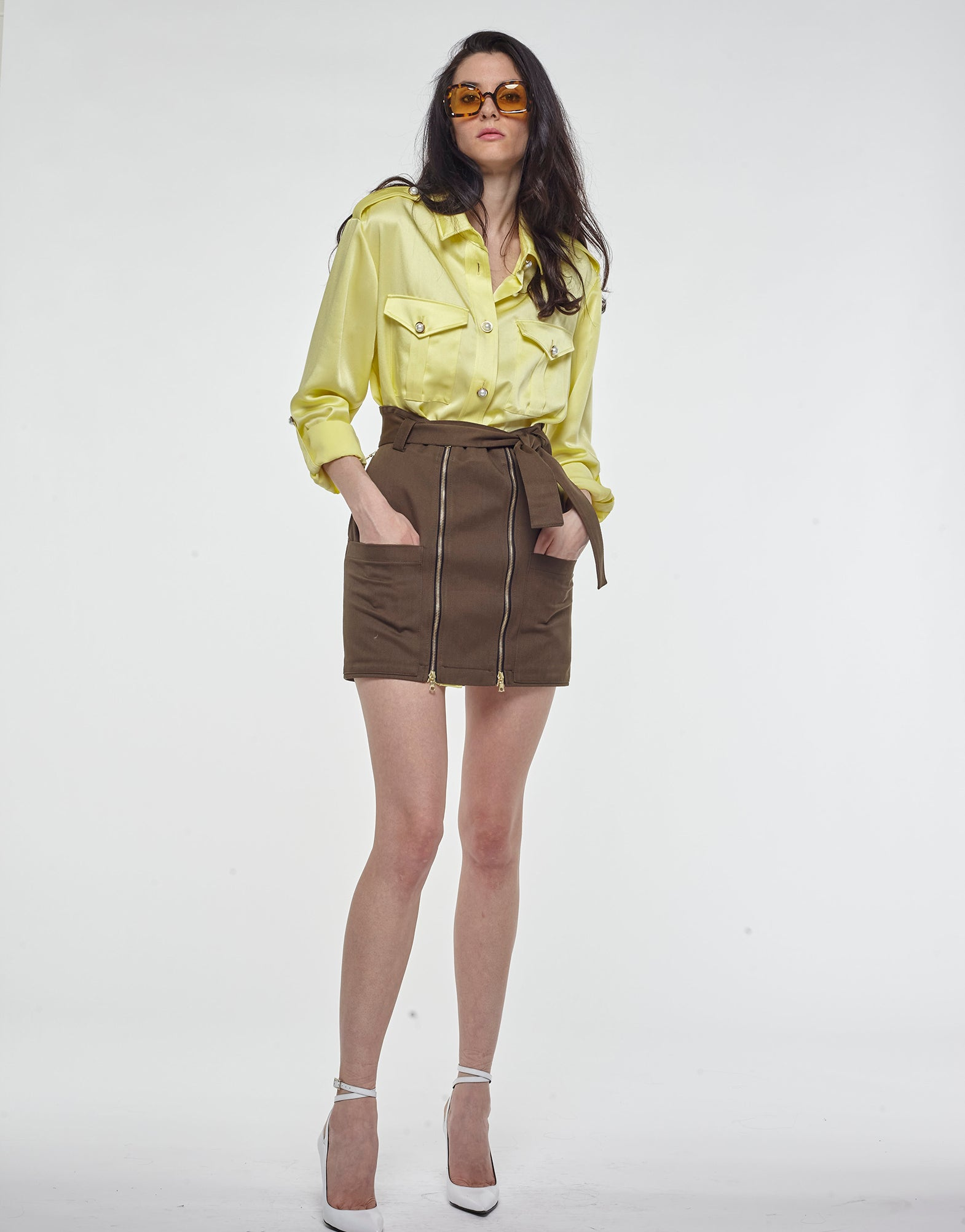 Yellow oversized satin shirt - NEW IN