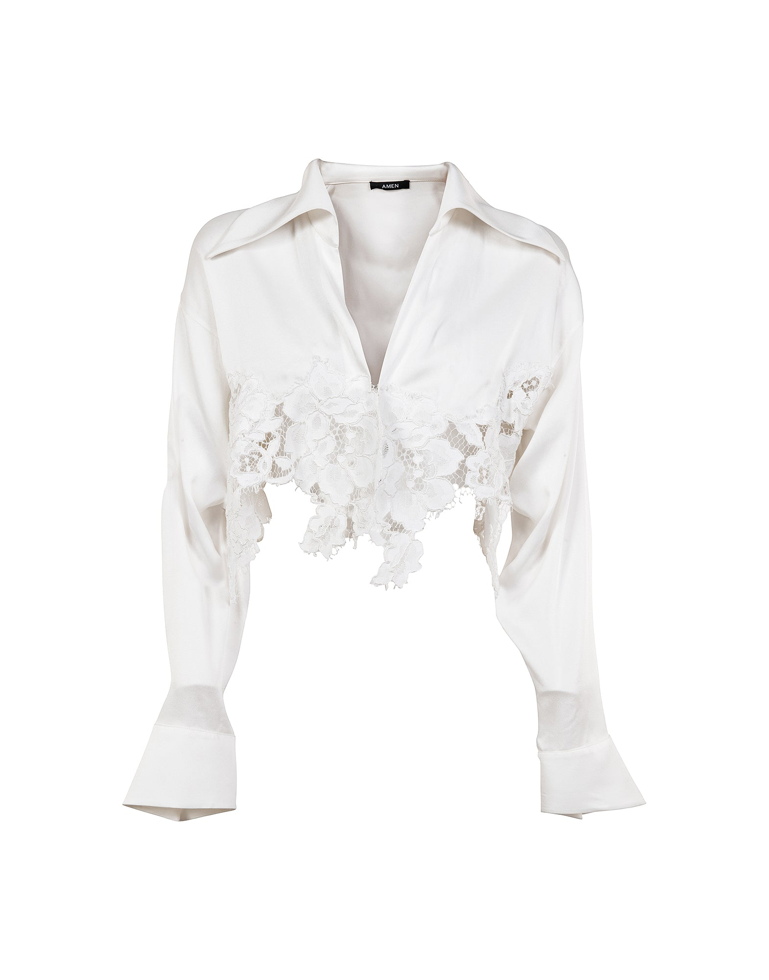 Cropped shirt in satin and lace - NEW IN