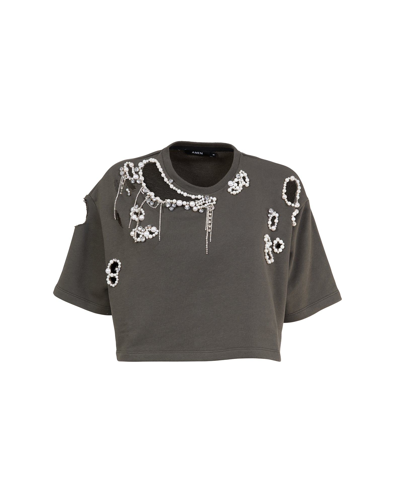 Cropped embroidered sweatshirt - NEW COLLECTION
