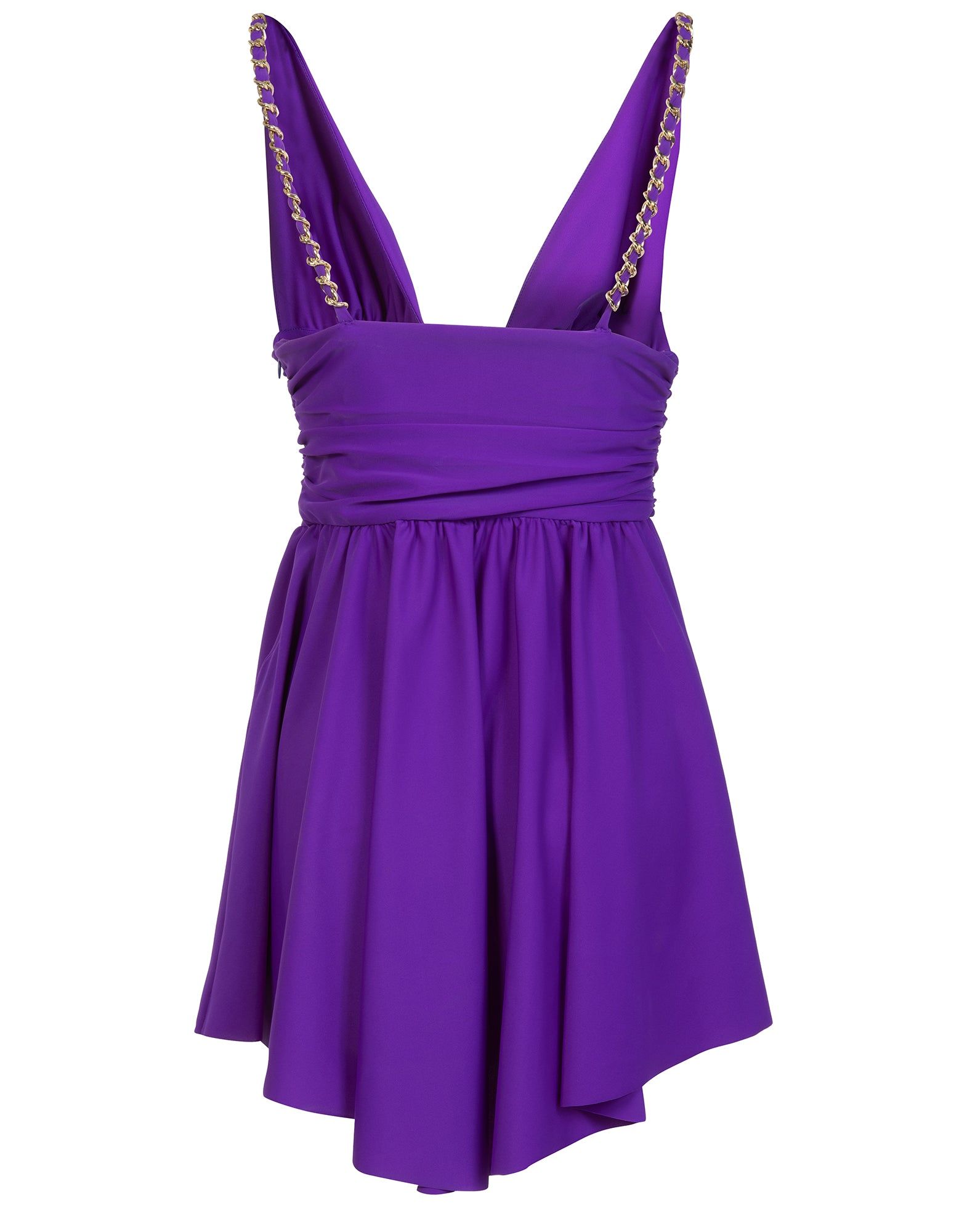 Purple lycra V neck mini dress - NEW COLLECTION