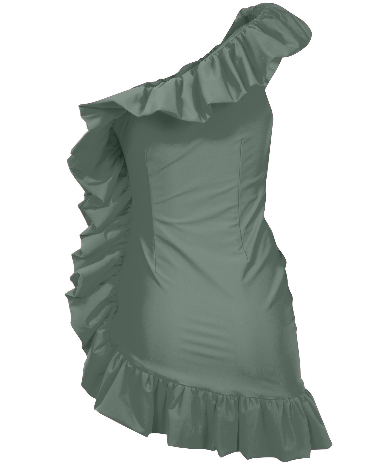 Green military one-shoulder ruffled mini dress - NEW COLLECTION