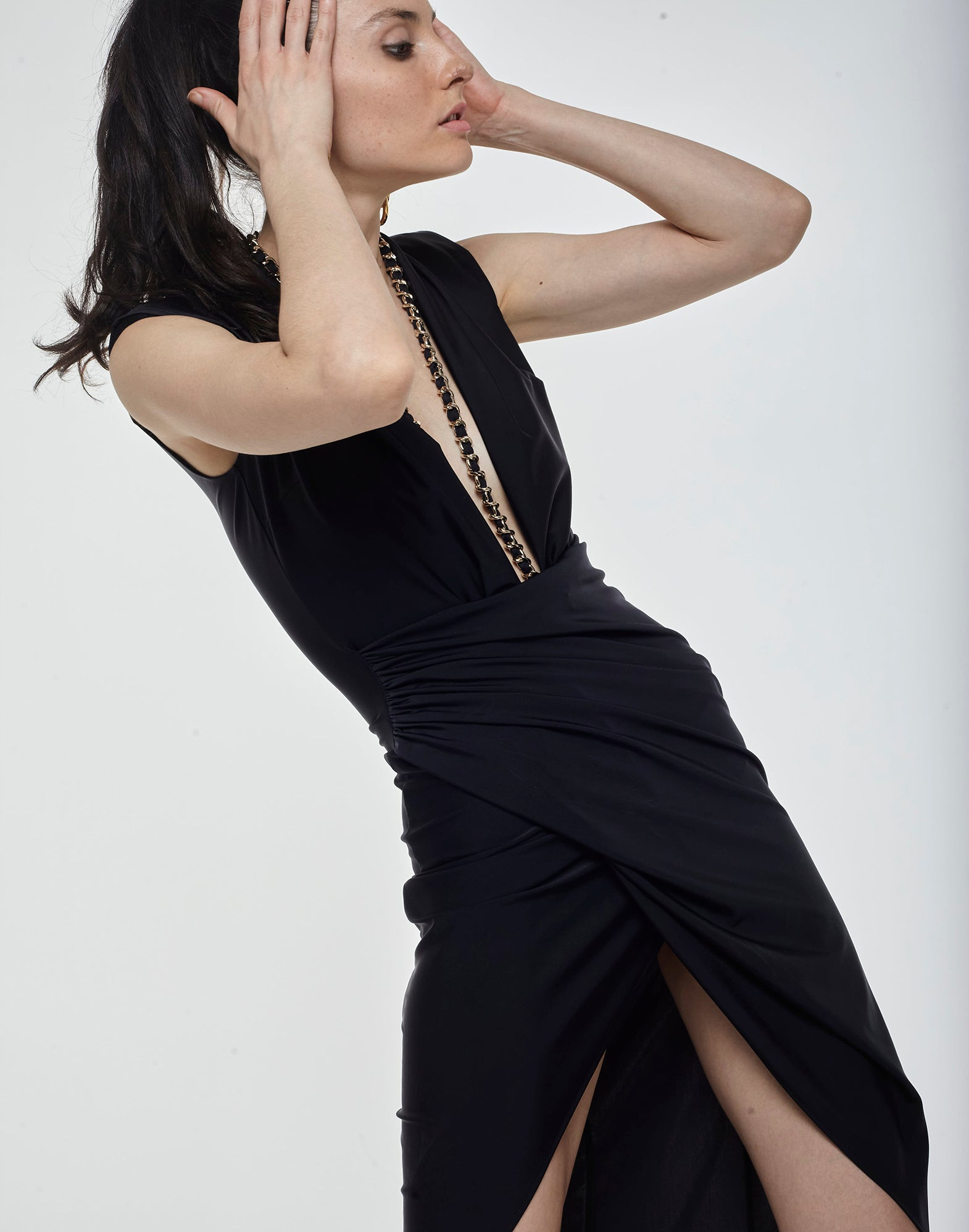 Black long draped lycra dress - NEW COLLECTION