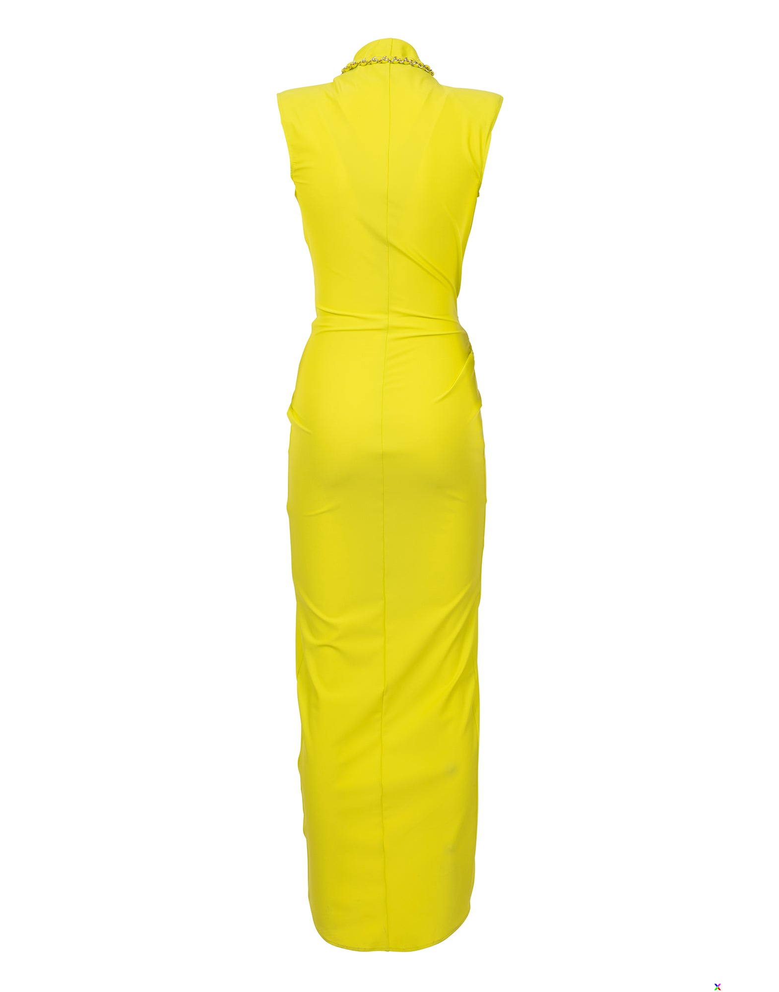 Yellow long draped lycra dress - NEW COLLECTION