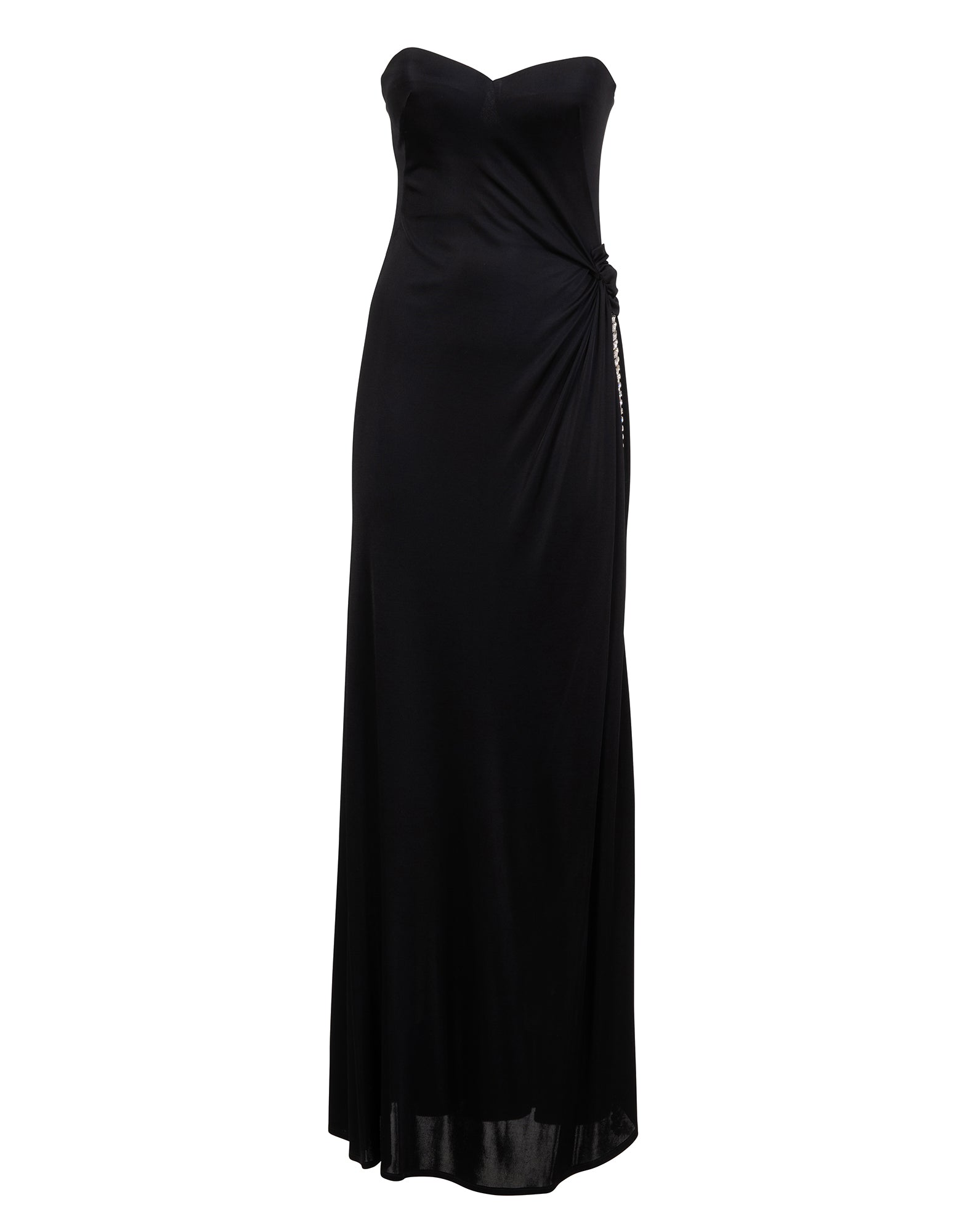 Black strapless rhinestone-embellished gown