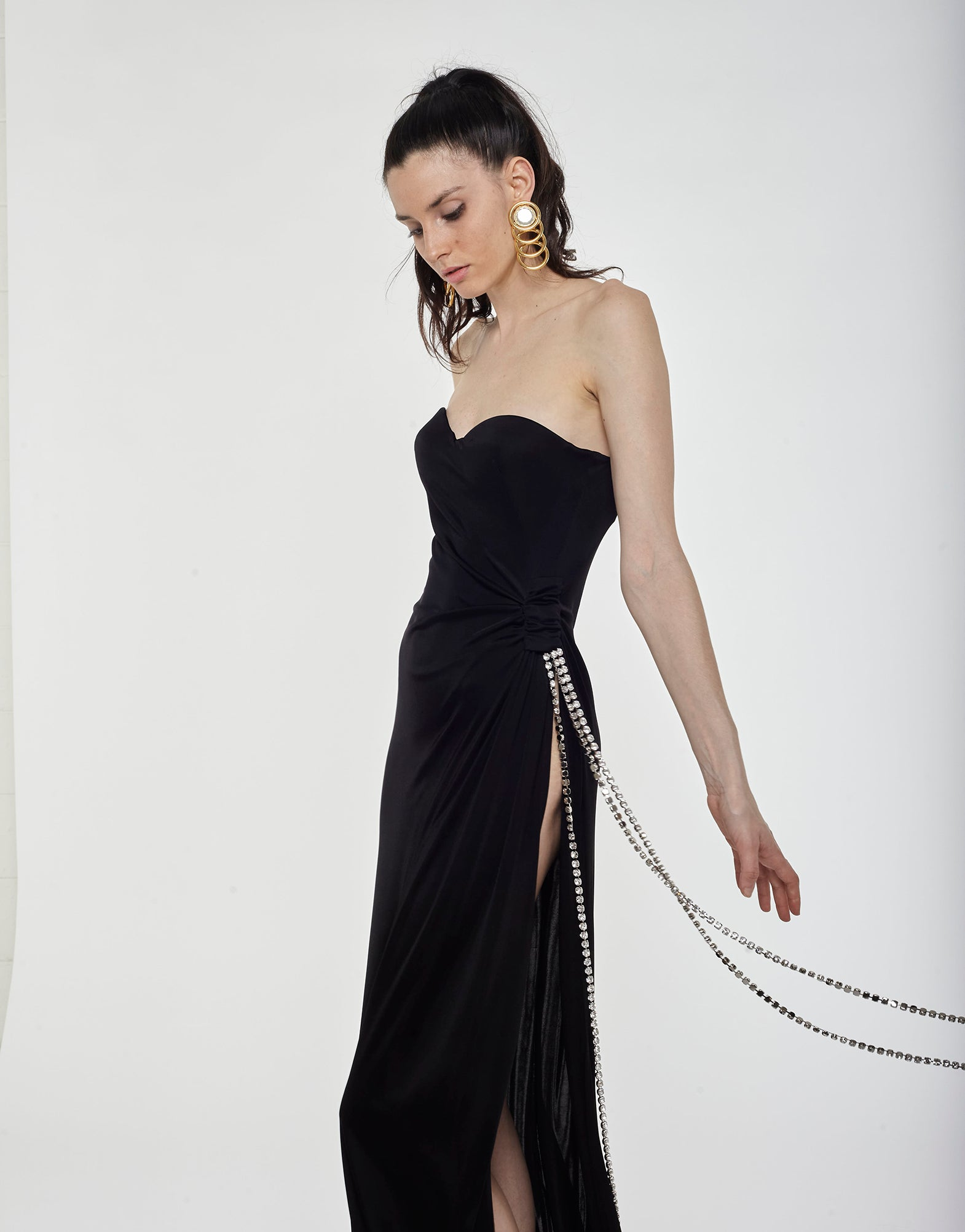 Jersey long dress with crystal chain - NEW COLLECTION
