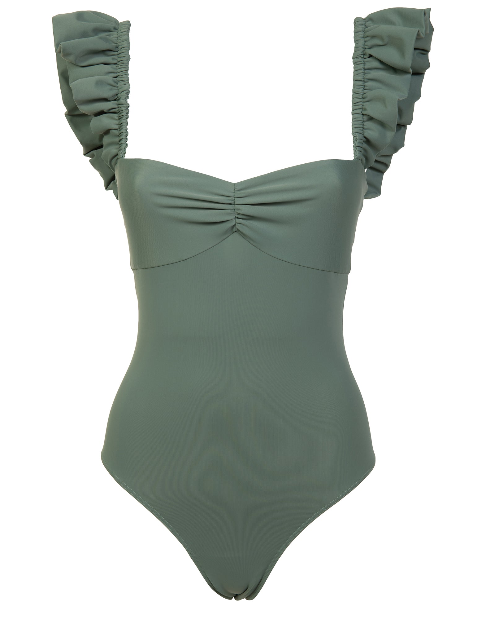 Green military ruffled swimsuit - NEW IN
