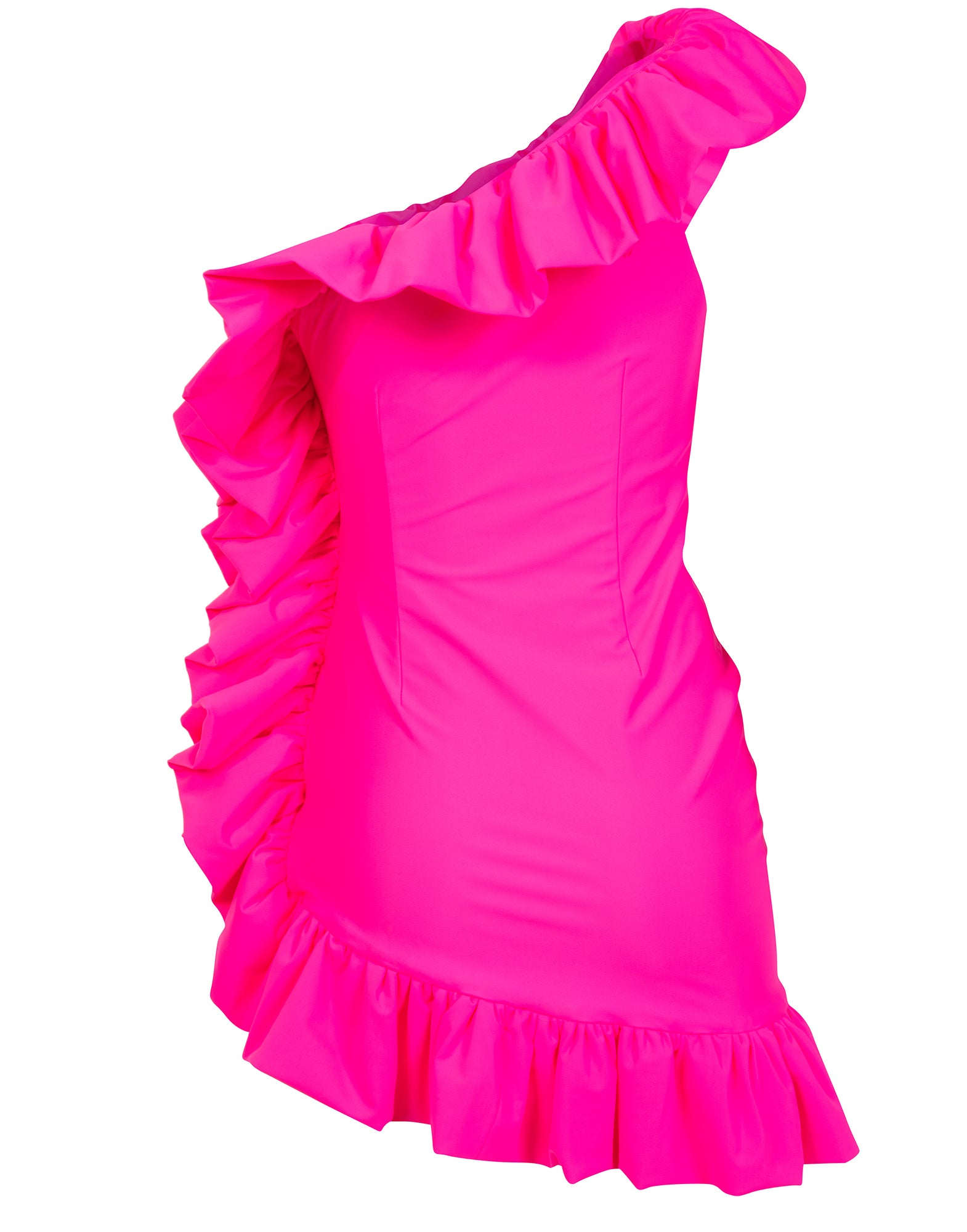 Pink one-shoulder ruffled mini dress