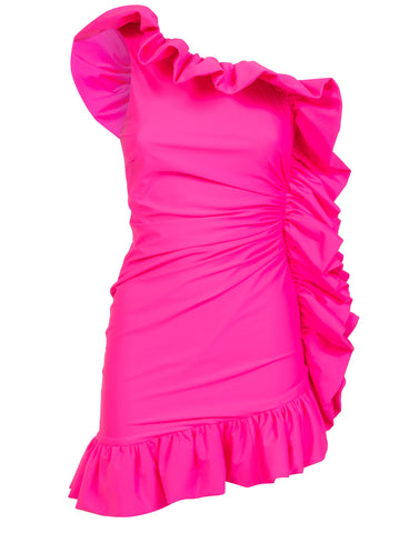 Pink one-shoulder ruffled mini dress - NEW COLLECTION
