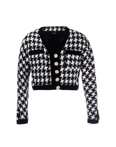 Houndstooth cropped jacket