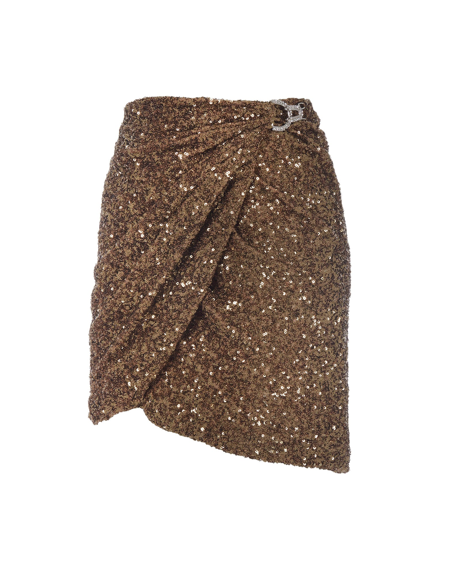 Gold Draped sequin mini skirt - NEW IN