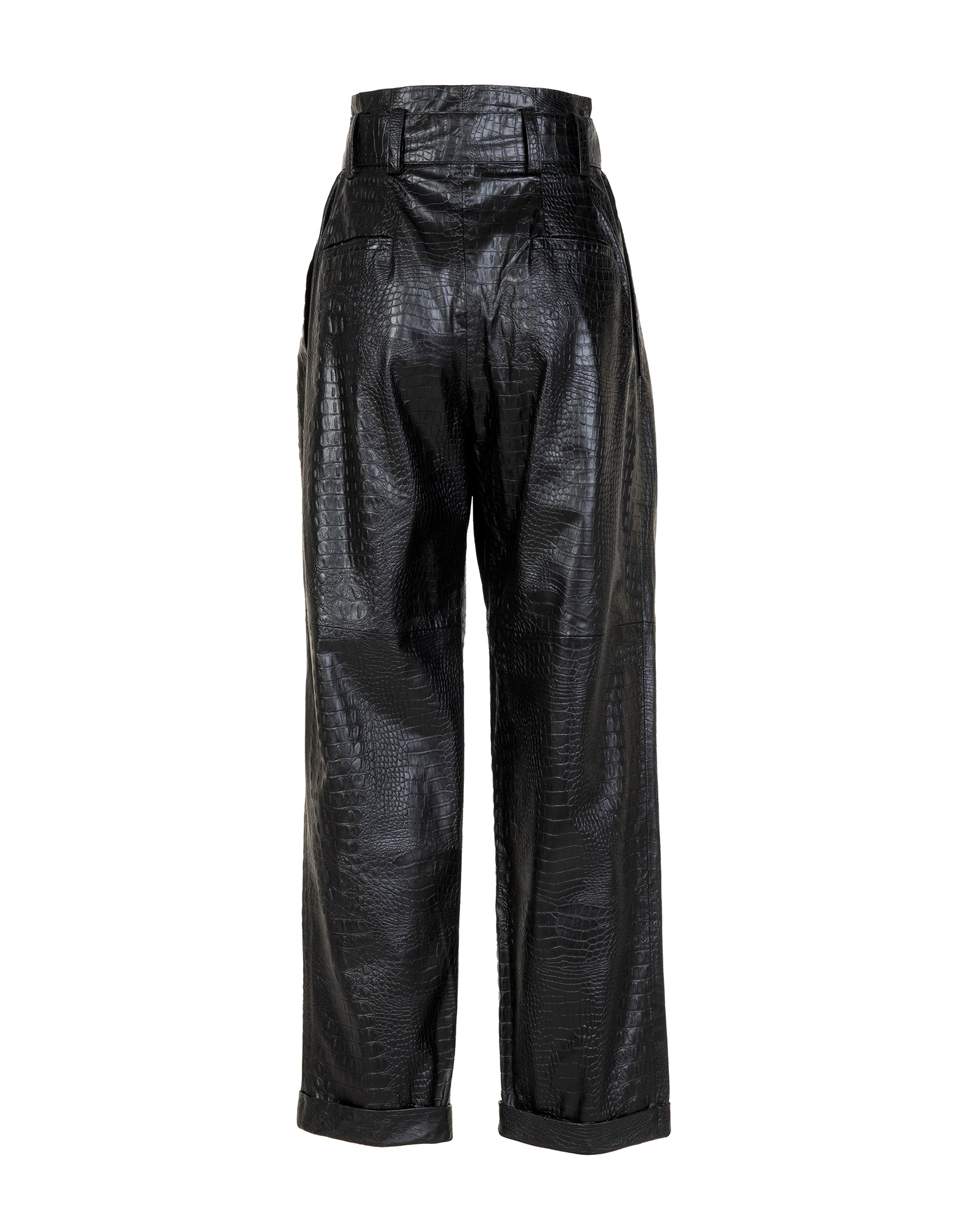 Crocodile effect high-waisted trousers