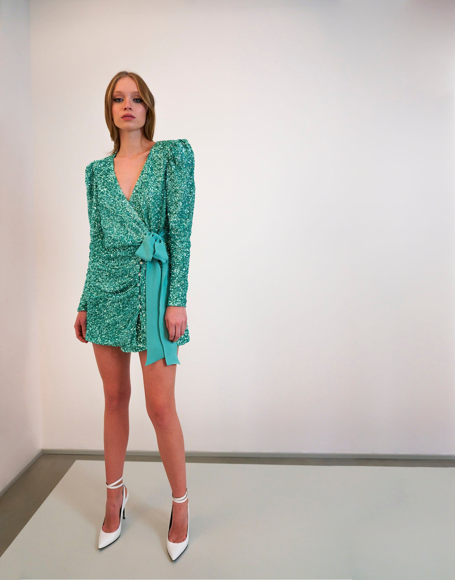 Water green sequins mini dress