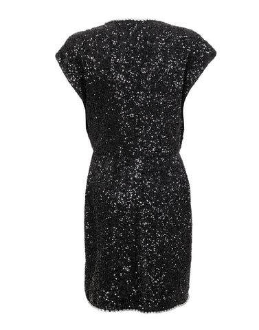 Black embellished sequins mini dress