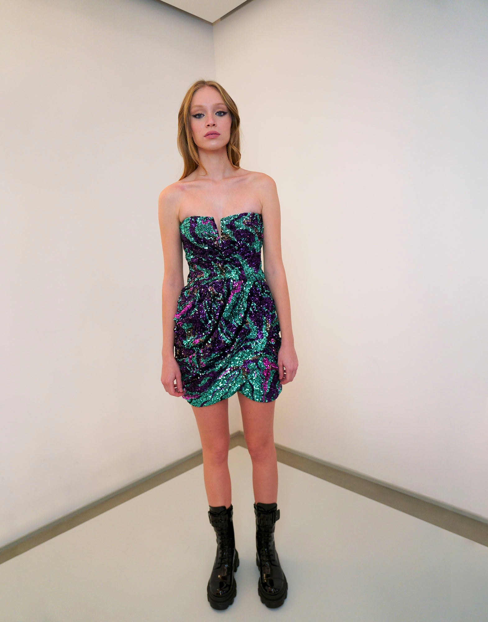 Multicolour sequins mini dress