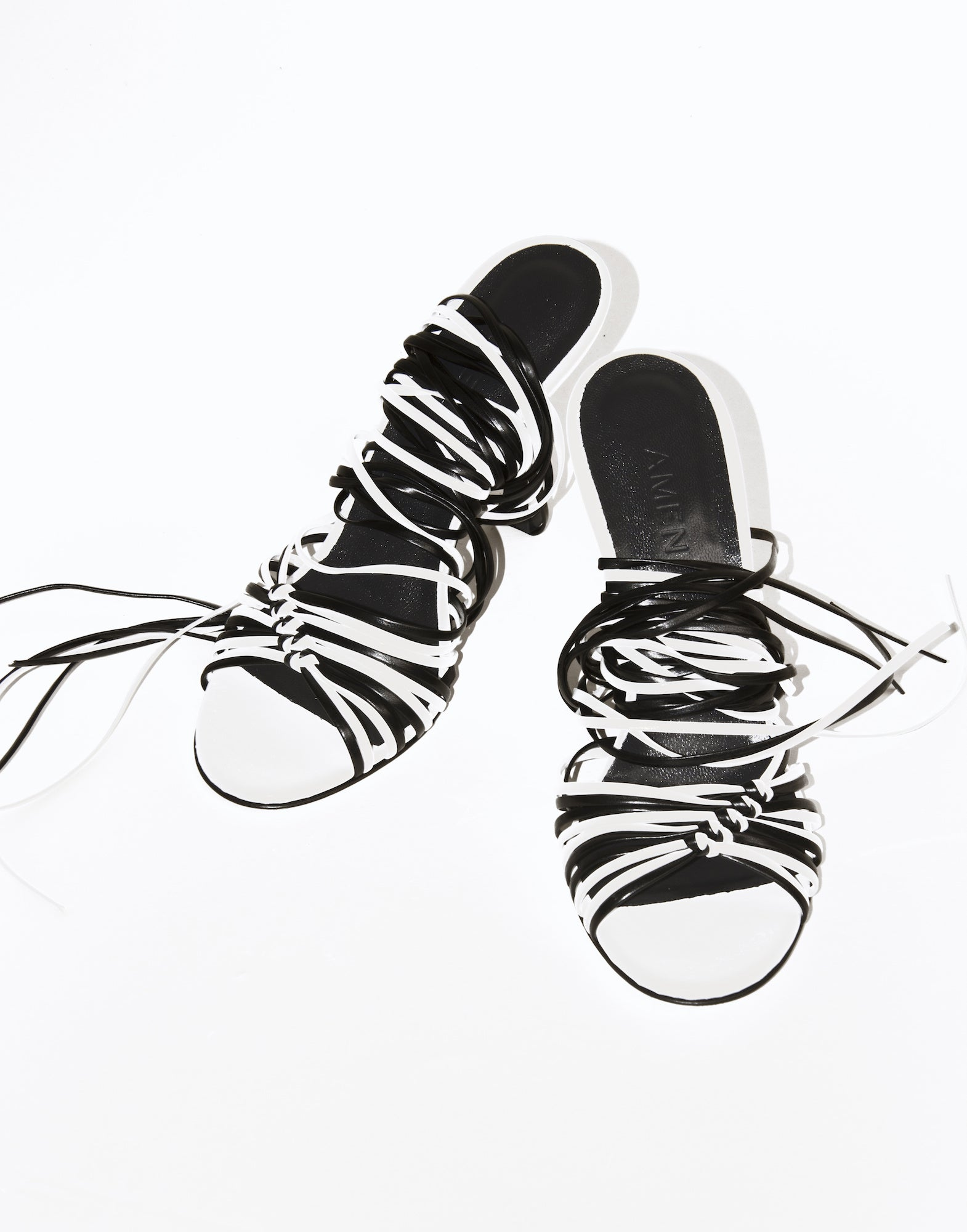 Two-tone lace-up sandals