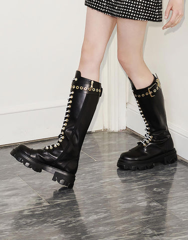 Black lace-up leather boots - NEW IN