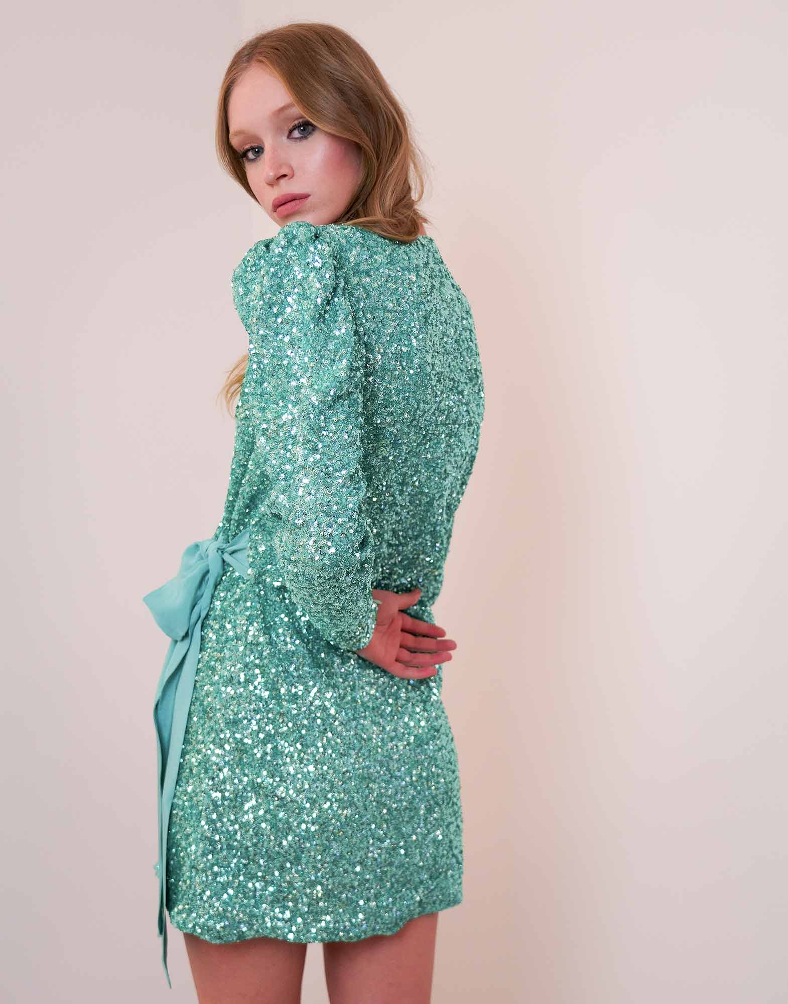 Water green sequins mini dress - NEW IN