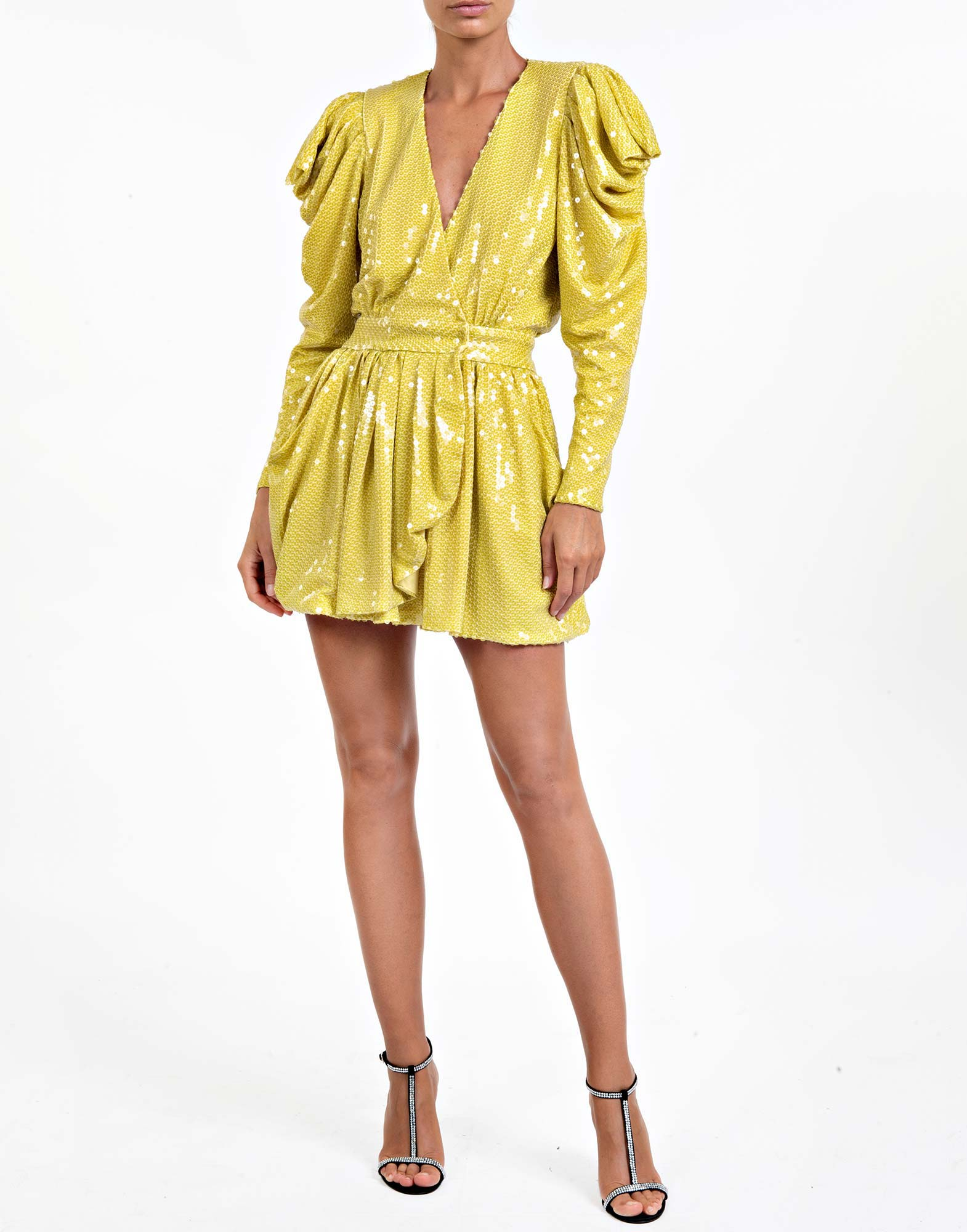 Yellow sequined mini dress