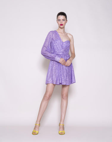 One-sleeve sequins dress