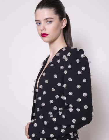 Crystal embroidered blazer