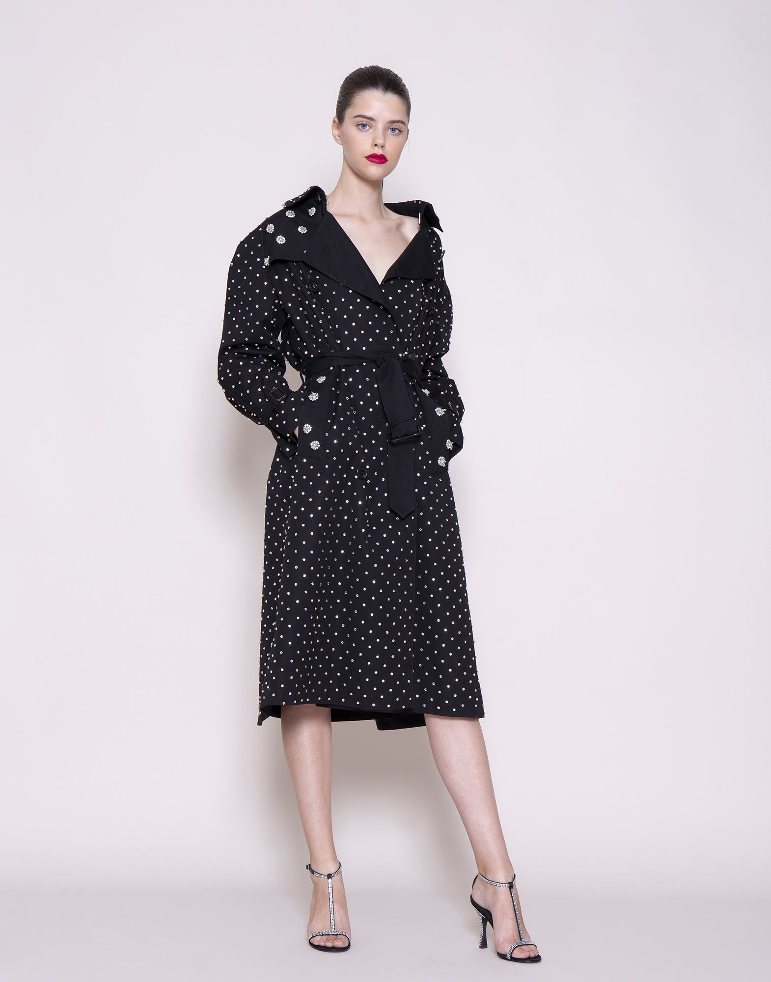 Cotton trench coat with crystals
