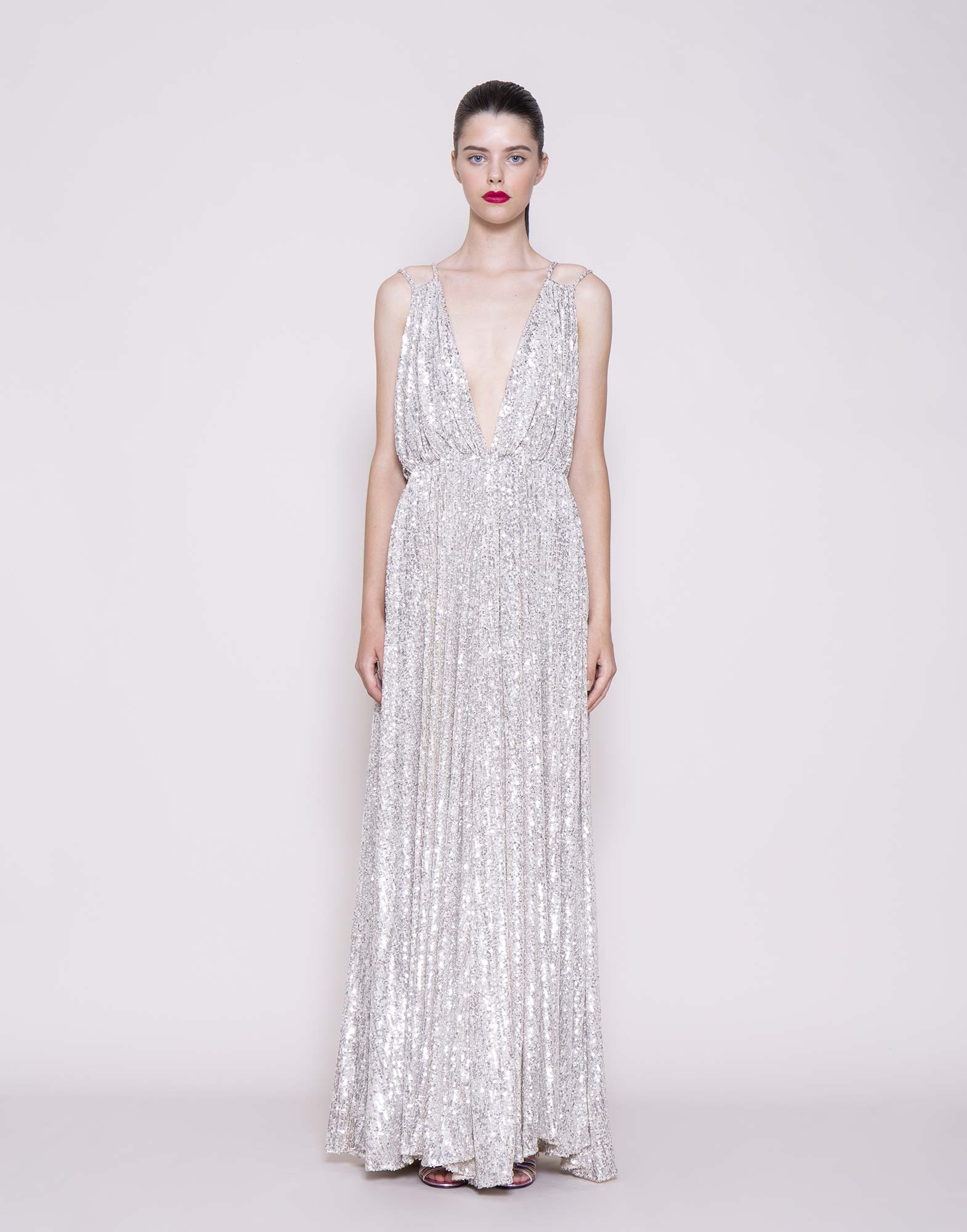 Silver sequins empire gown